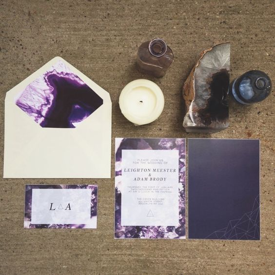 amethyst-inspired wedding invitation suite with geometric details