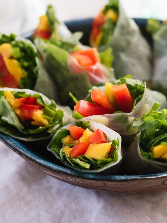 mango spring rolls with avocado-cilantro dipping sauce will be loved by most of guests