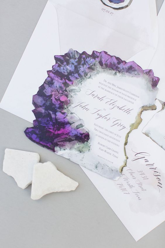 amethyst-inspired wedding invitation suite with a raw edge and amethyst prints plus gold leaf