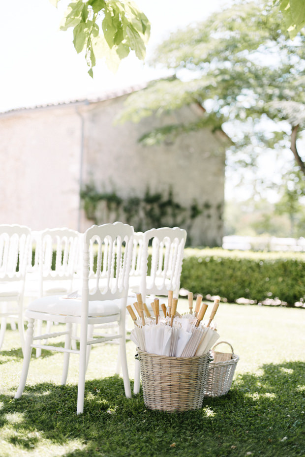 Parasols and fans were offered to the guests to feel comfy in the sunshine