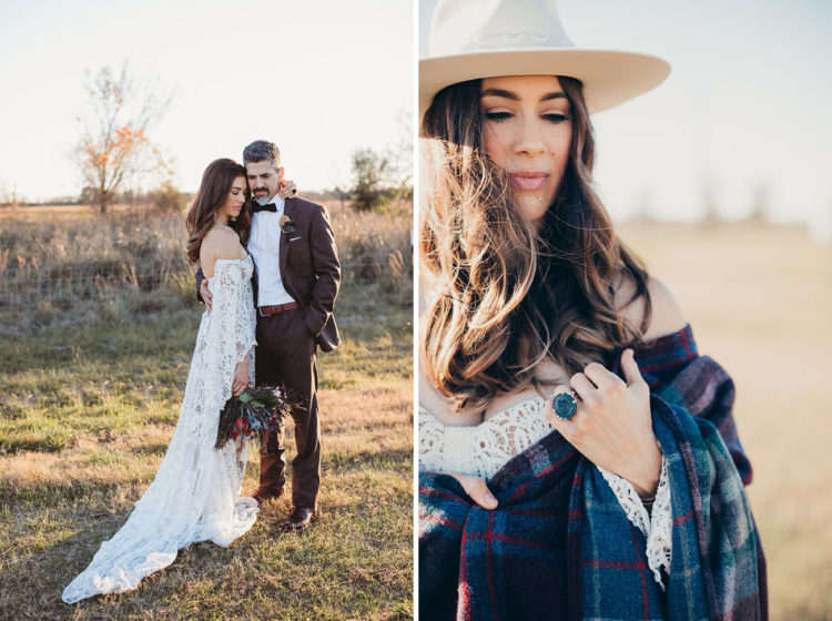 The bride covered up with a plaid shawl that reminded of iconic Ralph Lauren style