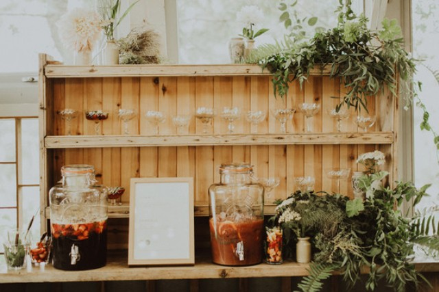 stylish rustic looking wedding drink bar