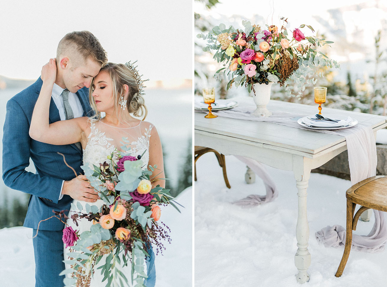All the florals for the shoot were bold ones to highlight the snowy look