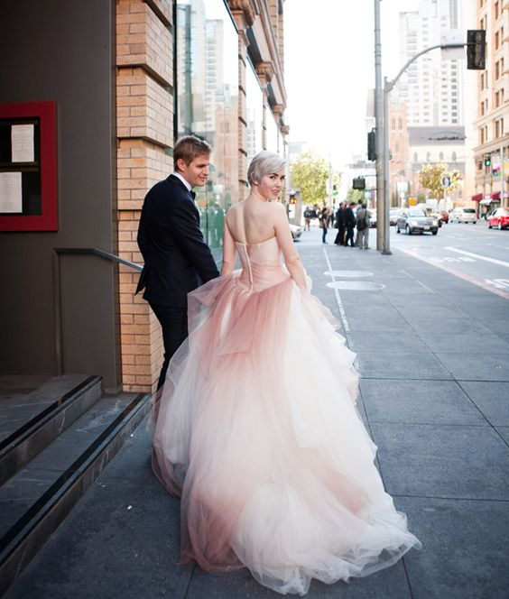 a glam strapless ombre pink wedding gown looks amazing, feel a princess in it