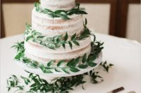 09 a naked wedding cake with fresh greenery is all you need for a fresh sprign look