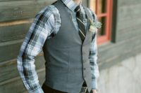 09 black pants, a checked shirt, a striped tie, a grey vest for a winter groom's outfit