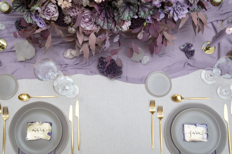 go for amethysts, gold touches and colored candles to create a jaw-dropping table setting