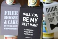 09 some beer bottles with personalized tags are a great way to ask your friends at a party