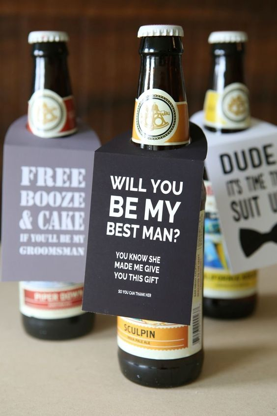 some beer bottles with personalized tags are a great way to ask your friends at a party