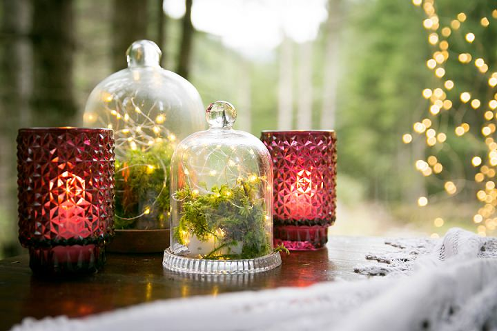 Small terrariums with moss, ferns and lights were made for the shoot