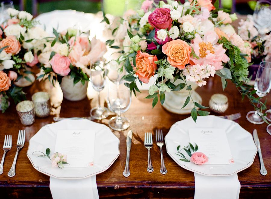 lush floral wedding table decor