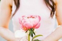 10 a single large pink peony for a bridesmaid's bouquet