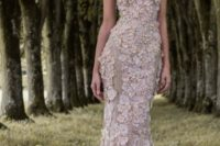 10 a spaghetti strap mermaid silhouette floral applique wedding dress in blush looks wow