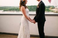 11 a sleeveless sheath floral applique wedding dress with a train and an ombre pink skirt