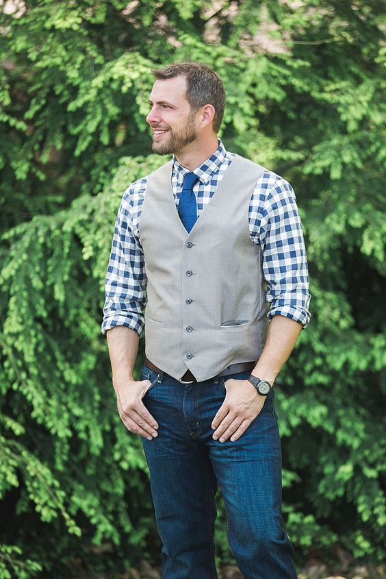 Jeans A Plaid Shirt In Blue Grey Waistcoat And Bold Tie