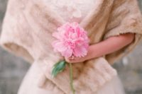 12 a single pink peony looks cute and girlish, ideal for the brides who want to look even more feminine