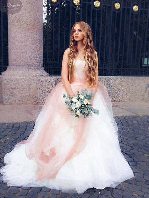 a sleeveless wide strap blush ombre wedding ballgown by Vera Wang