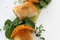 13 mushroom risotto spring rolls, manchego thyme crisps, roasted garlic watercress mayonnaise