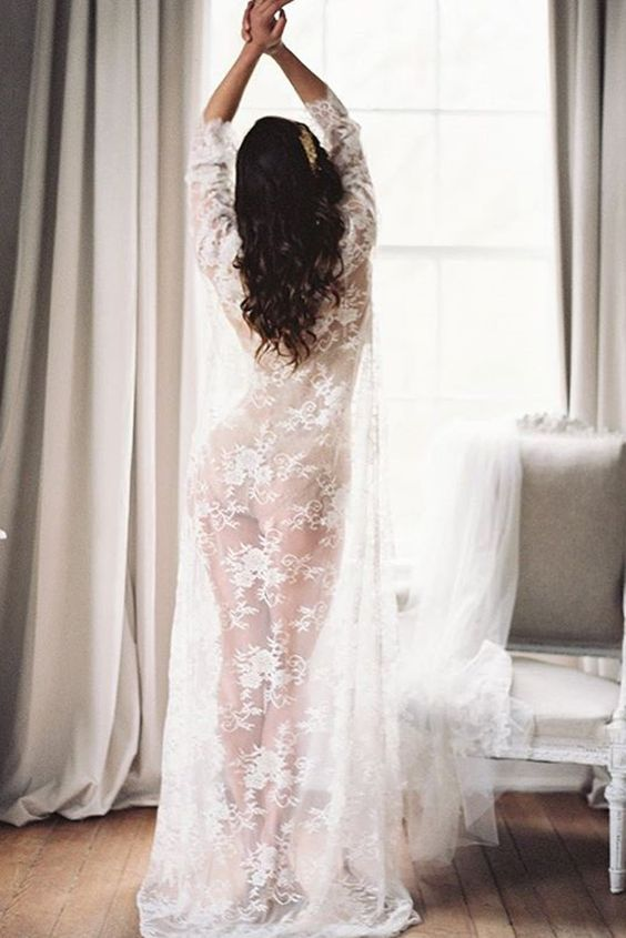 a long sheer lace bridal robe with half sleeves with nude lingerie is an amazingly elegant choice to try on your big day