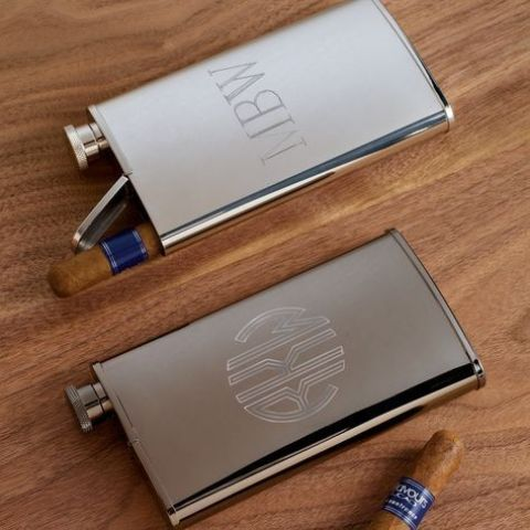 a stainless steel flask plus a cigar is a great idea - just add some tags to ask