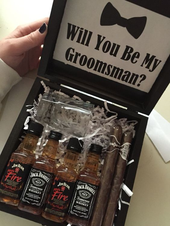 a stylish box with cigars and small bottles of alcohol will be a nice idea for every man