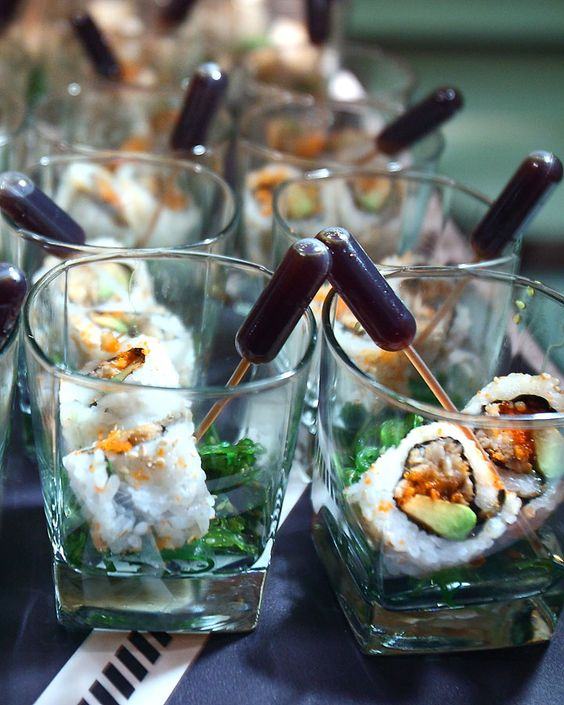 sushi with soy sauce pipettes is a creative serving idea