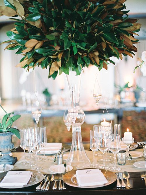 a tall crystal vase with a magnolia leaf arrangement is an amazign centerpiece