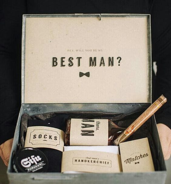 a tin box with socks, a cigar, matches, some alcohol and stuff like that