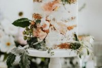 16 a naked cake with fresh herbs, berries and sugar geodes that are a cool wedding trend