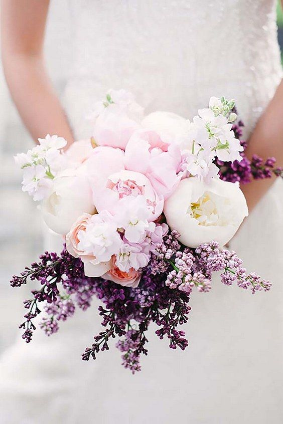blush peonies, bold lilac and white flowers for a bold spring look
