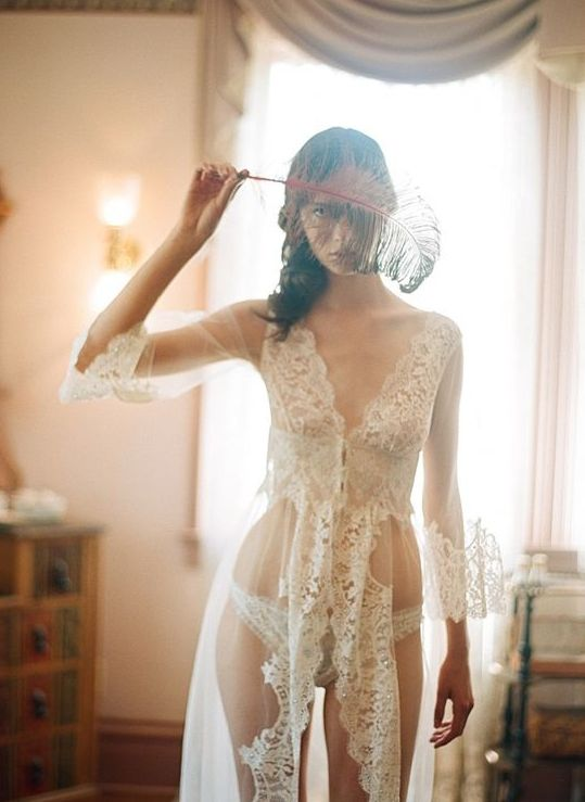 a chic off-white lace long bridal robe  with half sleeves, a lace bodice and a lace trim is a stunning idea for a morning or a boudoir