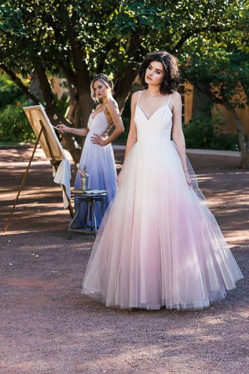 spaghetti strap V-neckline ballgown wedding dress with a pink ombre skirt