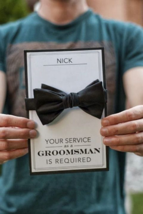 a card with a bow tie is a cool way to pop up the question