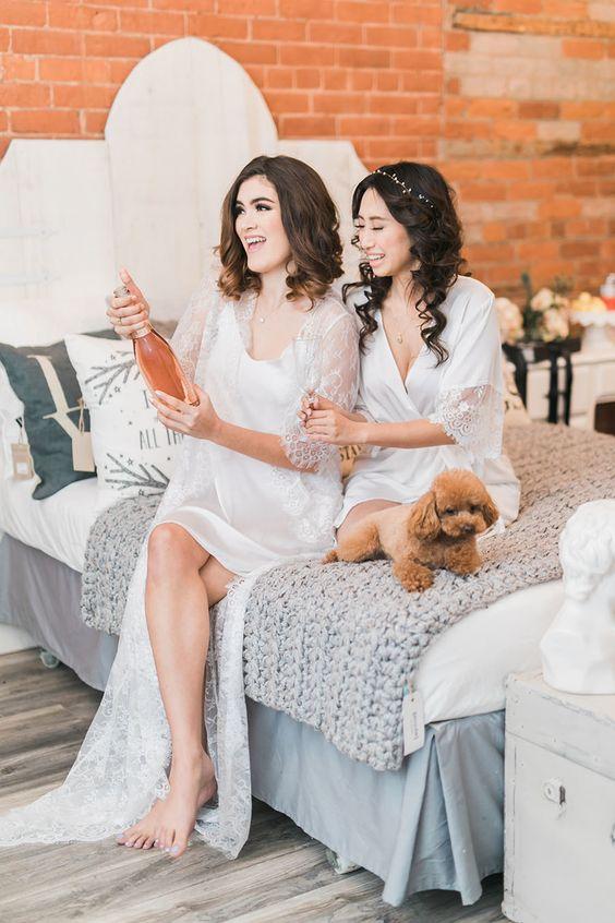 a gorgeous long lace bridal robe plus a short silk slip dress under it for a gorgeous bridal look