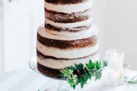 18 a naked wedding cake topped with blush blooms, blackberries and fresh greenery