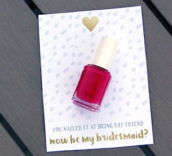 a cute card with bold nail polish to pop up the question