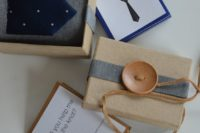 20 a tie to wear on your big day in a box with a large button and a tag with the question
