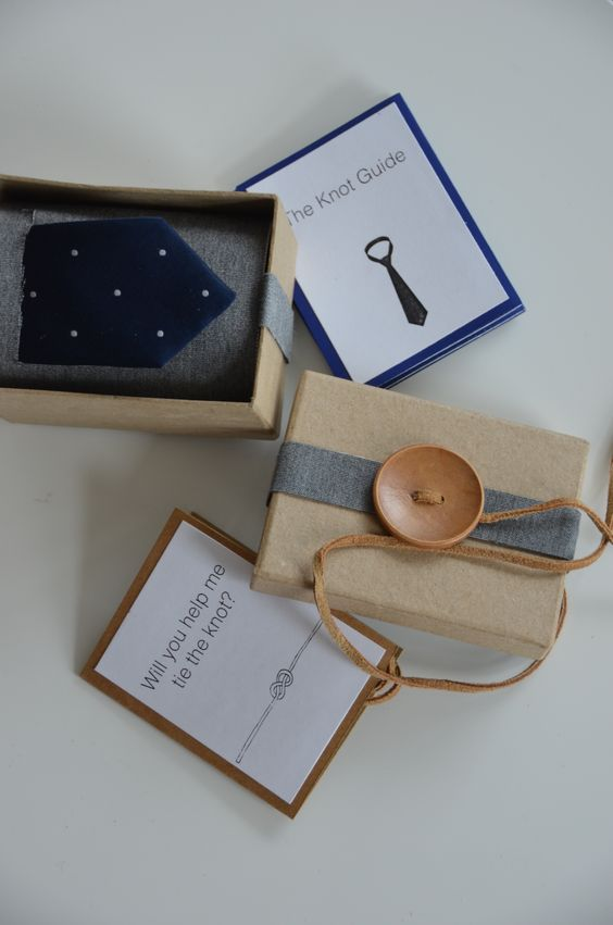 a tie to wear on your big day in a box with a large button and a tag with the question