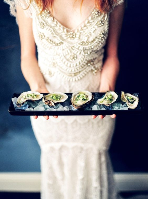 fresh oysters is a timeless idea for any wedding if you love seafood