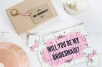 21 a cute pink 'Will You Be My Bridesmaid' jigsaw with a matching envelope