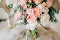 21 a pink and white wedding bouquet with eucalyptus and other greenery for a romantic bride