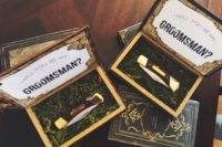 22 a box with moss and a knife is a great idea for a woodland wedding