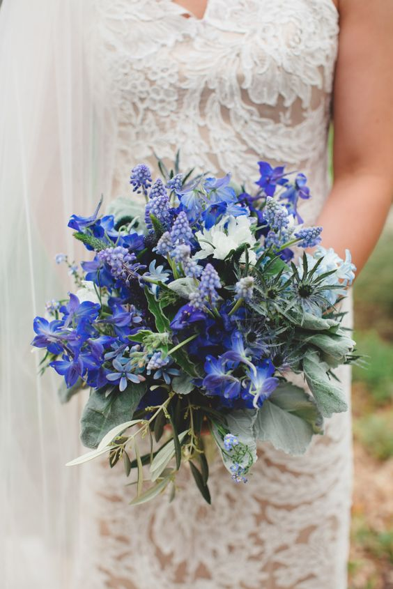 Belladonna Delphinium, muscari, scabiosa, veronica, thistle, and hyacinth in blue tones - an ideal solution for something blue
