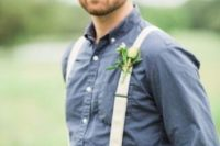24 tan pants, a chambray shirt, crwamy suspenders and no tie for a country wedding