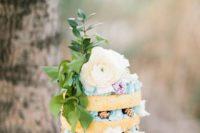 boho spring wedding cake in naked style