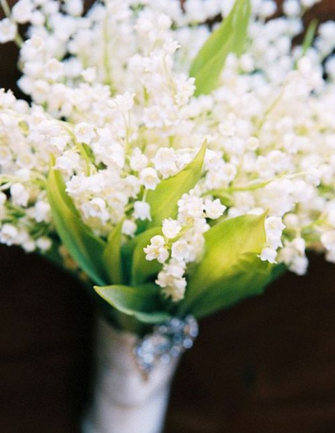 a gorgeous lily of the valley wedidng bouquet will smell and look amazing and very spring-like