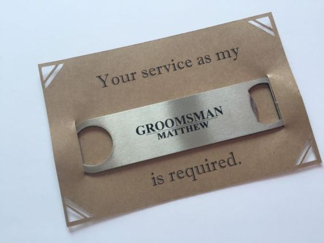 a simple card with a bottle opener is a great way to pop up the question