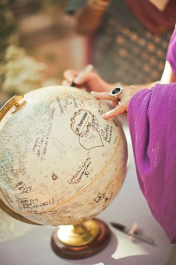 use a globe as a creative wedding guest book