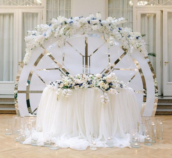 a gorgeous modern white and metallic rounded screen with lush white and blue blooms on top