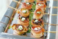27 bacon wrapped shrimps with cream cheese and fresh greenery for those who prefer something substantial